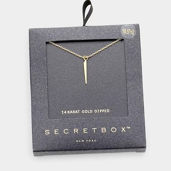 Secret Box _ 14k Gold Dipped Pointed Irregular Pointed Bar Pendant Necklace