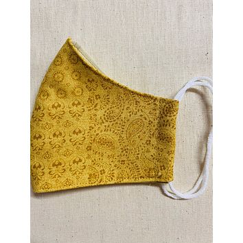 3 Layer Gold Yellow Paisley Print Full Face Cup Shaped Mask | Cloth Mask with Non Latex Elastic