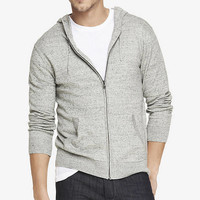 HEATHERED NEP ZIP HOODED CARDIGAN from EXPRESS