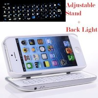 Case MaMa Multifunction Bluetooth Keyboard Case Sliding Function + Standing Function + Backlight Function + 12 Button Specially Designed for Iphone 5 Iphone5 I5 - White