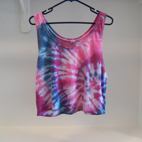 Loose Fit Spiral Tie Dye Crop Top Coachella Music Festival Clothing, Boho , Hippie Clothing, Hipster  (CUSTOM COLORS AVAILABLE)