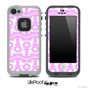 White and Light Pink Anchor Collage Skin for the iPhone 5 or 4/4s LifeProof Case