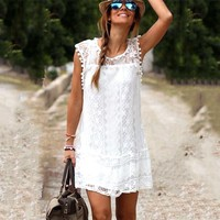 Hot Summer Dress 2017 Sexy Women Casual Sleeveless Beach Short Dress Tassel Solid White Mini Lace Dress Vestidos Plus Size