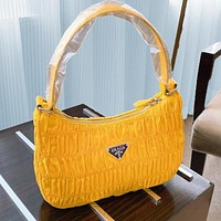 Prada spring new fold hobo bag shoulder bag handbag bag yellow