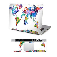 """Vati Leaves Removable Colorful World Map Protective Full Cover Vinyl Art Skin Decal Sticker Cover for Apple MacBook Pro Retina 13.3"""" inch (A1425/A1502)"""