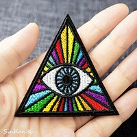 EYE (Size:6.9x6.9cm) Badge Iron On Patch Embroidered Applique Sewing Clothes Stickers Garment Badges Apparel Accessories