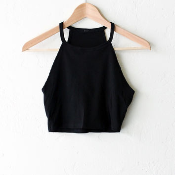 Black Fitted Crop Tank Top