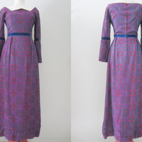 60s Purple Baroque Evening Gown by Judith Bluck for Gold and Silver with Young, XS // Vintage Fairy Tale Evening Dress