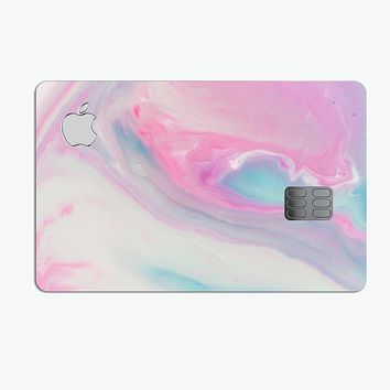 Marbleized Soft Pink and Blue Paradise - Premium Protective Decal Skin-Kit for the Apple Credit Card