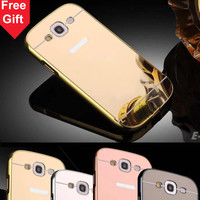 For Samsung Galaxy S3 S4 S5 S6 edge S7 edge Case Aluminum Metal + Acrylic Mirror Battery Back Cover Phone Case For Samsung S3