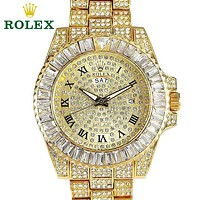 Rolex full diamond simple men's and women's quartz watch