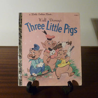 "Vintage 1981 Walt Disney's ""The Three Little Pigs"" - A little Golden Book / Kids Book / Big Bad Wolf / Movie Adaption"