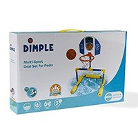 Dimple Floating Basketball and Soccer Goal Pool Set, with 2 Nets, Small Balls, and Pump, Great Educational Toy for kids