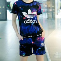 """Adidas"" Summer Fashion Casual Galaxy Clover Letter Print Short Sleeve Set Two-Piece Sportswear"