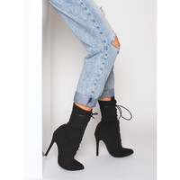 Celia Black Lycra Lace Up Pointed Ankle Boots : Simmi Shoes