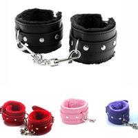 Hot Sale 2016 PU Leather Handcuffs Restraints Costume bdsm Bondage Sex Toys for Couples Tools Adult Games Fetish Sex Toy PY248