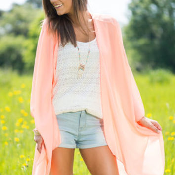 Breeze And Thank You Cardigan, Neon Coral