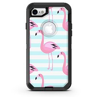 Pink Flamingos Over Blue Stripes - iPhone 7 or 8 OtterBox Case & Skin Kits