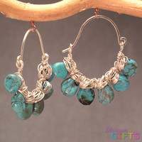 """Hammered hoops with turquoise, 1-1/2"""" Earring Gold Or Silver"""