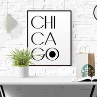 Chicago Flag Chicago Wall Art Chicago Poster Typographic print Home Print Chi City Art Print Chicago Art Chicago Print Wall Art Home Decor
