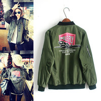 Plus Size Spring Basic Jackets Women Appliques Bomber Jacket Femmes Boyfriend Flight Ladies Outwears Army Green Coats SWF0250-5