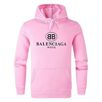 Balenciaga 2019 new printed letters for men and women out of cotton hooded sweater pink