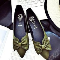 New style pointed flat sole shoes with shallow mouthpiece single shoe students'obedient shoes spring style women's shoes Only one pair Army green