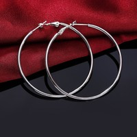 1 Pair Hot Smooth Round Creole Big Hoop earings 925 stamped silver plated  Fashion New Jewelry Accessories Diameter 5-8cm