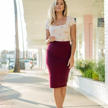 High Waist Fitted Midi Pencil Skirt
