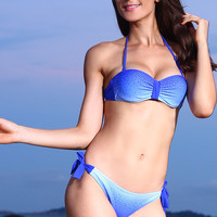 Blue Gradient Ruched Jeweled Bikini with T- Back Bottom