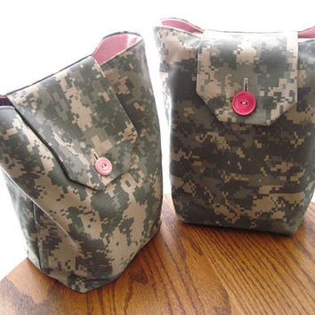 Pink & ACU Gift Bags Reusable Army Camouflage Military Camo Modern Gift Wrap Alternative (Set of 2) --US Shipping Included