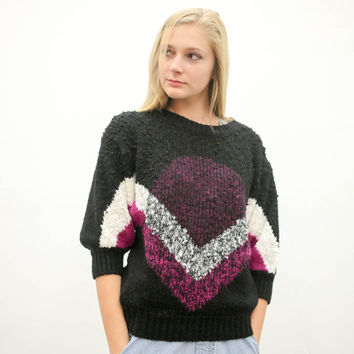 80s 90s black pink white chevron pullover sweater, vintage 1980s 1990s, 90s dark pattern, ironic vtg tumblr, soft grunge, urban outfitters