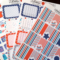 Organizing Sticker, Cleaning, Half Box, Full Box, Header, Stars and Stripes Bundle, Fits Erin Condren, Kiss Cut, 4th of July, Life Planner