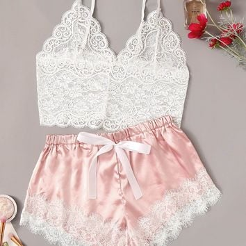 Floral Lace Cami Top With Satin Shorts