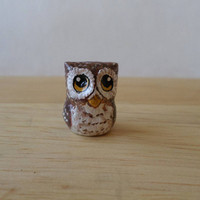 miniature owl figurine, small owl, bird paper clay sculpture, owl totem #131