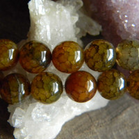 8mm Coffee Brown Dragon Vein Agate Beads 10 Pieces