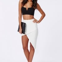 Missguided - Asymmetric Midi Skirt White