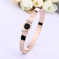 New Stainless Steel Bracelets&Bangles For Women IP Rose Gold Plated Cubic CZ CNC Setting Luxury Brand Fine Jewelry Black Enamal