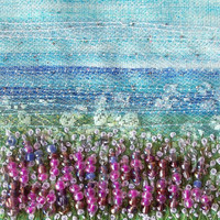 Fabric card - Lavender landscape - fabric landscape  - beaded and embroidered card - french knots - 5 inch square card