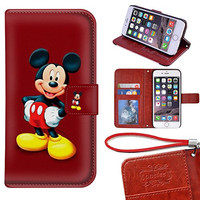 iPhone 6S Wallet Case[4.7 inch], Onelee - Mickey Mouse Premium PU Leather Case Wallet Flip Stand Case Cover for iPhone 6S with Card Slots