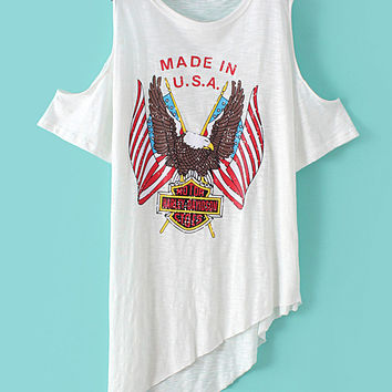 White Cold Shoulder Eagle Printed Asymmetric T-shirt