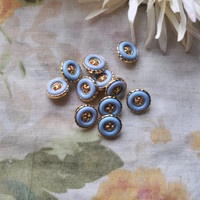 Mod Vintage Gold and Something Blue Shank Buttons 1960s by SewRed
