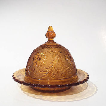 Amber Sandwich Glass Butter Dome, Tiara Exclusives Indiana Glass Butter Dish with Dome Lid