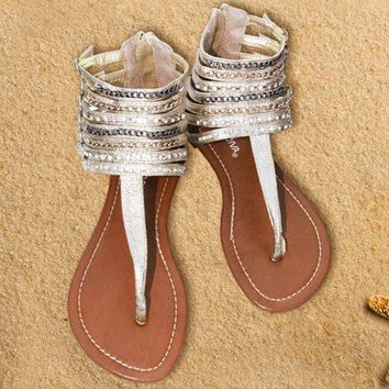 Sandals gold buckle straps Flat strappy ankle with chains and rhinestones - Chynna Dolls