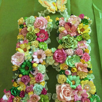 Custom Floral Letter Monogram - Paper Flower Initial in Your Choice of Colors and Letter on Paper Mâché Base