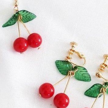 Cherry Drop Earrings - 3 Styles For Pierced & Non Pierced Ears