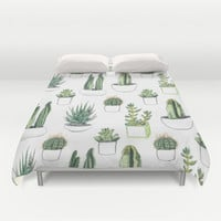watercolour cacti and succulent Duvet Cover by Vicky Webb