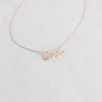 """Love"" Rose Gold Dainty Necklace"