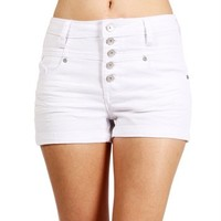 White High Waited Denim Shorts