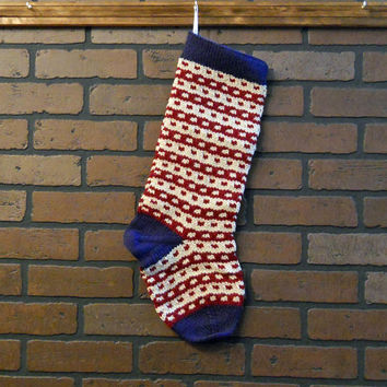 Striped Christmas Stocking, Hand Knit in Blue with Red and Tan Stripes, Can Be Personalized, Housewarming Gift, Wedding Gift, Baby Gift